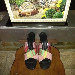 ETRO Multi Colored Satin Authentic Shoe Size 38/8